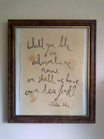 PETER PAN handwritten quote print