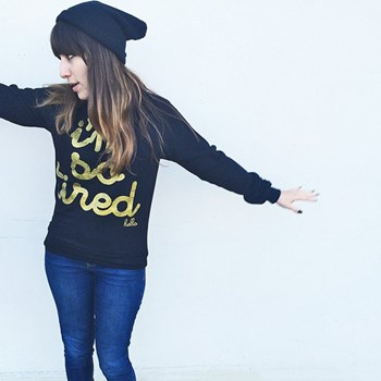 I'm So Tired Gold Glitter Black Raglan Pullover