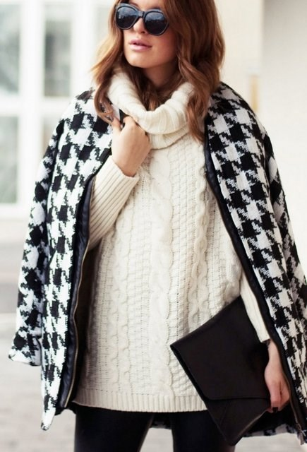 High Neck Cable Knit Sweater