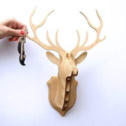 Wooden Stag Head Trophy Key Hanger